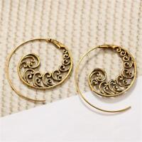 Vintage BigDangle spirale en laiton tourbillon ondulé boucles d'oreilles crochet