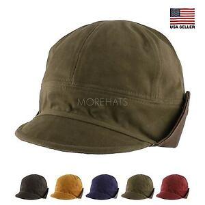 Cotton Faux Leather Floppy Short Brim Hiphop Baseball Cap Aviator Trapper Hat