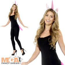 Unicorn Ears & Tail Kit Ladies Fancy Dress Magical Animal Adults Costume Acc Set