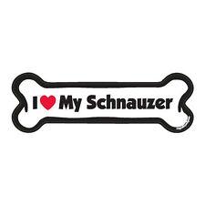 I Love My Schnauzer Dog Bone Car Magnet