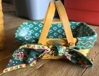 ✨  Longaberger 2001 WOVEN MEMORIES BASKET Green Liner Protector Tie On Bow  NICE