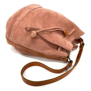 $198 Gorgeous Sundance Italy Pink Suede Leather Drawstring Shoulder Bucket Bag
