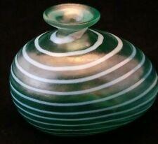Signed Bertil Vallien KOSTA BODA Miniature Green Art Glass Egg Vase with Label