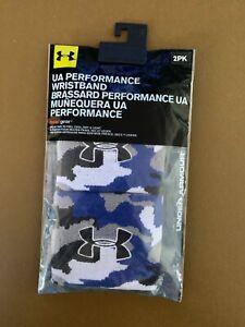 Under Armour Performance Wristbands Unisex Blue Camo 2 pack