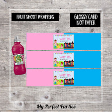6 Princess and Superhero Personalised Fruit Shoot Bottle Wrappers Party Favour 4