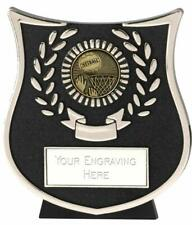 Emblems-Gifts Curve Silver Netball Plaque Trophy With Free Engraving