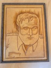 Framed Original Leather American Folk Art - Portrait of Ernest Hemingway