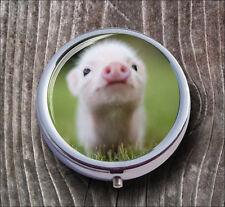 PIG LITTLE PINK BABY PILL BOX ROUND METAL - c35h7