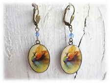 Ohrringe Peacock- Ohrhänger Pfau Feder bronzefarben boho Hippie nice Cabochon