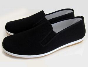 Stoff Schuhe Slipper Kung Fu Schuhe Segeltuch Klassik mit Gummisohle Gr.36-45
