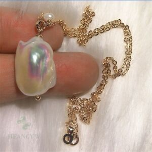 Freshwater Baroque Pearl 18k Gold Necklace 18 inches Luxury DIY Cultured
