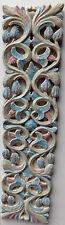 Panneau peinture décoratif en bois marqueterie floral turquoise blanc cm100x25x3