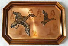 Vintage Magowan Signed Copper Art 3D Birds in Wooden Frame