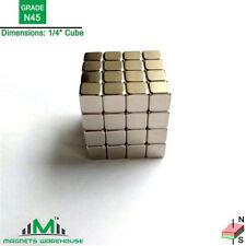 "64-count neodymium N45 NdFeb cube magnets 1/4""*1/4""*1/4"" (true N45)"