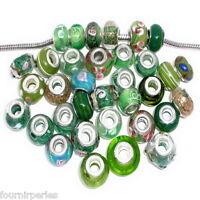 10 Mixte FP Perles Verre Vert pr Charm Bracelet européen 14x10mm-17x9mm