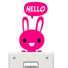 Smiling Rabbit Pet Light Switch Funny Wall Decal Vinyl Stickers DIY ~1pc~