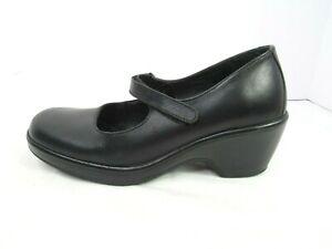 Dansko EU 40 US 9.5-10 Black Leather Mary Jane Wedge Heels Shoes Womens