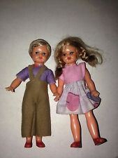 VINTAGE HARD PLASTIC  DOLLS STRUNG AT ARMS AND LEGS  4""
