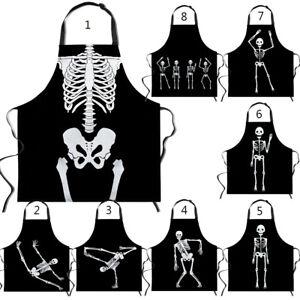 Halloween Skeleton Apron Cleaning Party Sleeveless Home Kitchen Bib Gardening