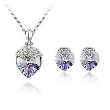 18K WHITE GOLD PLATED GENUINE CUBIC ZIRCONIA HEART NECKLACE AND EARRING SET