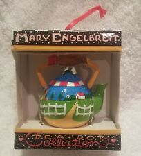 Mary engelbreit teapot ornament white fence green grass country house collection