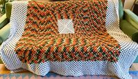 Vtg Handmade Crochet Afghan Granny Bed Throw Blanket Green Orange White Speckled