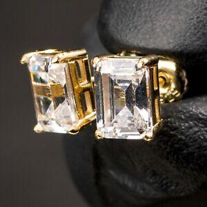 Mens 14K Gold Sterling Silver Elegant Emerald Cut Hip Hop Screw Back Earrings