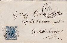 FRANCOBOLLO POSTALE ITALIANO 20 CENT. 1875 DA TORINO A ROCCHETTA TANARO 12-38