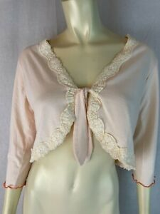 Robert Louis Top M Pale Pink Stretch Knit Cotton Poly Tie Front Cropped Shorty