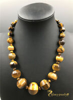 Rare Tiger Eye Beads Graduated women's choker Necklace 18""