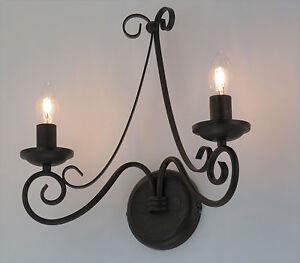 applique lampada da parete in stile fiammingo ferro battuto marrone classico