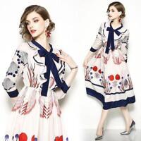 2018 spring/summer womens fashion temperament printing High Waist A-line Dress S