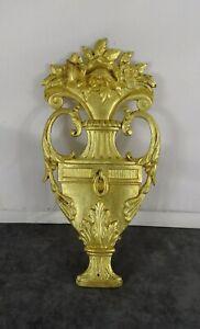 "9"" Antique French Furniture Bronze Gilt Mounts - Ornament Medicis Vase & Flowers"