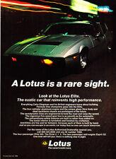"1980 Lotus Elite photo ""Reinvents High Performance"" promo print ad"