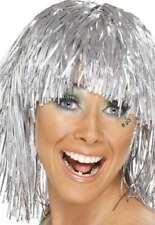 60s 70s 80s Ladies Tinsel Fancy Dress Cyber Wig Hen Silver New by Smiffys