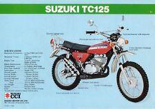 1974 SUZUKI TC125L SALES SPECS AD/ BROCHURE