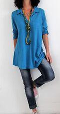 J Jill Cotton L Sleeve Notch Neck Burnout Fabric Slub Tunic Blue Sz PL