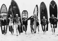 old  vintage SURF PHOTO SURFING BEACH black white  A0 CANVAS PRINT