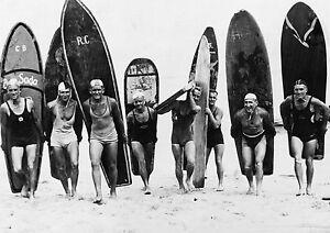 old  vintage SURF PHOTO SURFING BEACH black white  A0 CANVAS PRINT