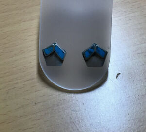 Vintage 925 Silver And Turquoise Stud Earrings