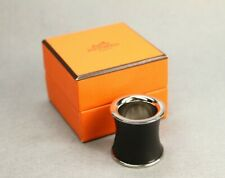 Auth HERMES Accessory Scarf Ring Brack Sirver Plated Leather Scarf Ring