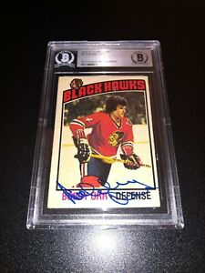 Bobby Orr Signed 1976-77 O-Pee-Chee OPC Card Chicago Blackhawks BAS Slabbed