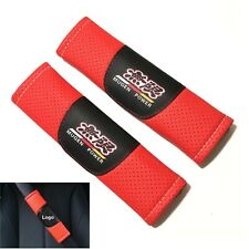 2Pcs Jdm Mugen Red Leather Look Car Seat Belt Covers Shoulder Pads Cushion