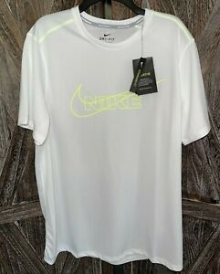 NIKE NWT CV7414-100 Breathe White/Neon Green Running Shirt Mens sz XL