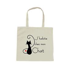 Sac coton blanc J'habite chez mon Chat - Humour -  cat chaton chatte félin minou