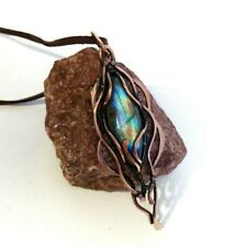 Necklace for bride Labradorite pendant Wire wrapped jewelry wedding gift mother