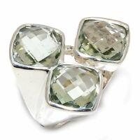 Green Amethyst Natural Gemstone Handmade 925 Sterling Silver Ring Size 7 R-131