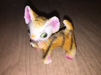 Vintage Ceramic Sugar Popcorn Tiger Striped Cat Kitten Pink Ears Green Japan 5""