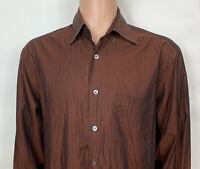 Ermenegildo Zegna Mens XL Dress Shirt Button Down Brown Long Sleeve