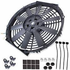"14"" UNIVERSAL STRAIGHT BLADE ELECTRIC COOLING RADIATOR FAN KIT CAR PUSH PULL"